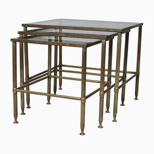 Mid-Century French Brass Nesting Tables from Maison Baguès