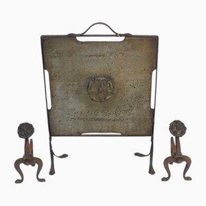 Juego de pantalla y herramientas para chimenea antiguas de latón y hierro forjado