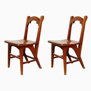 Wooden Catalan Side Chairs, 1920s, Set of 2