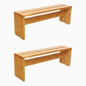 Large French Pine Wood Benches by Charlotte Perriand, 1960s, Set of 2