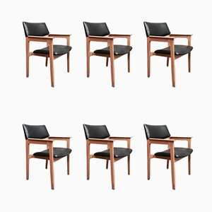 Scandinavian Modern Oak and Black Leather Lounge Chairs, 1950s, Set of 6