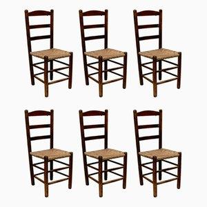 Beistellstühle aus Holz & Rattan, 1950er, 6er Set