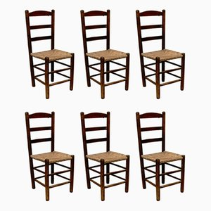 Wooden and Rattan Side Chairs, 1950s, Set of 6