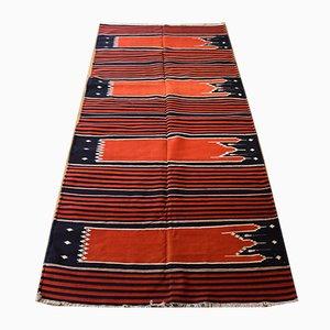 Indischer Mehrab Teppich in Rot, Weiß & Blau, 1970er