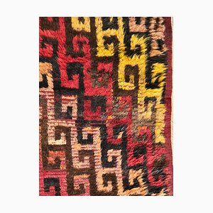 Turkish Red, Yellow, and Brown Woolen Tulu Rug, 1950s