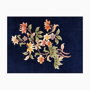 Vintage Art Deco Dark Blue Floral Rug, 1950s