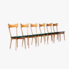 Birkenholz Esszimmerstühle von Ico Parisi, 6er Set