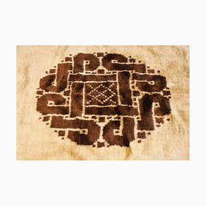 Antique North African White and Brown Rug, 1900s