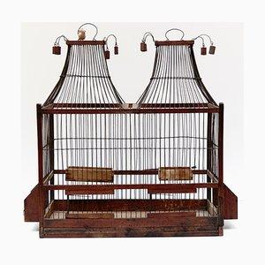 Französischer Vogelkäfig aus Holz & Metall, 1930er