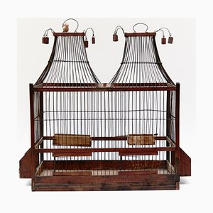 French Wood and Metal Bird Cage, 1930s