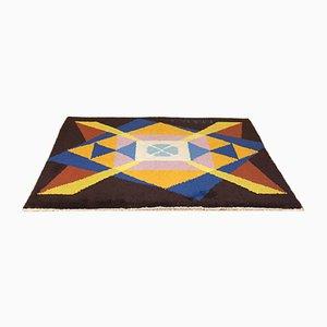 Italienischer Teppich in Braun, Gelb & Blau von Giacomo Balla, 1980er
