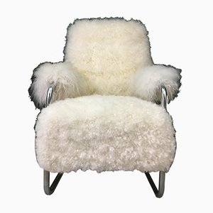 Vintage Art Déco Sessel mit weißem Schaffellbezug