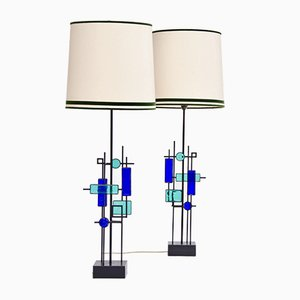 Iron and Glass Table Lamps by Svend Aage Holm Sørensen for Holm Sørensen & Co, 1960s, Set of 2