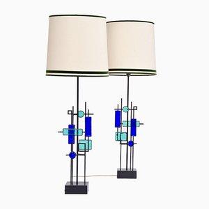 Lámparas de mesa de hierro y vidrio de Svend Aage Holm Sørensen para Holm Sørensen & Co, años 60. Juego de 2