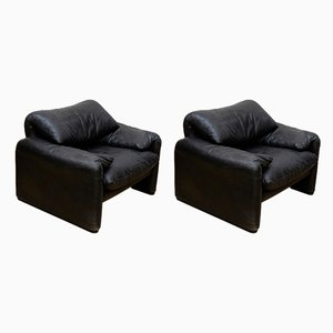 Black Maralunga Easy Chairs by Vico Magistretti for Cassina, 1970s, Set of 2