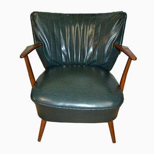 Mid-Century Dark Green Skai Cocktail Chair, 1950s