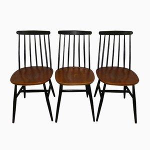 Mid-Century Esszimmerstühle aus Holz, 3er Set