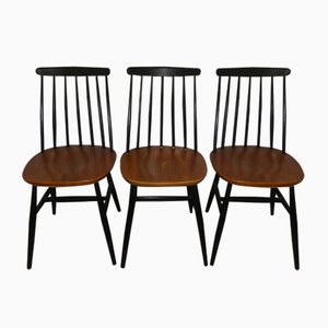 Mid-Century Wooden Dining Chairs, Set of 3