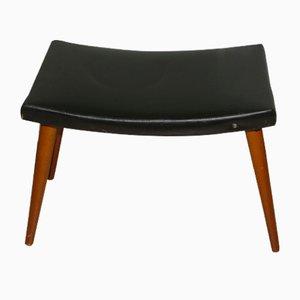 Mid-Century Black Skai Footstool