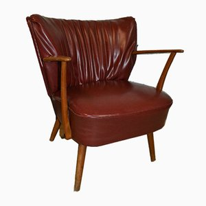 Mid-Century Burgundy Skai Cocktail Chair, 1950s