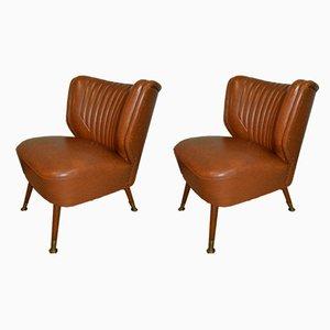Mid-Century Caramel Skai Lounge Chairs, Set of 2
