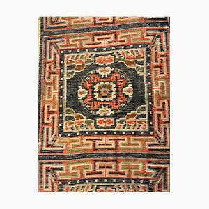 19th Century Tibetan Blue, Orange, and White Kyongde Runner Rug, 1870s