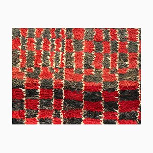 Moroccan Red, Brown, and White Berber Talsent Rug, 1950s