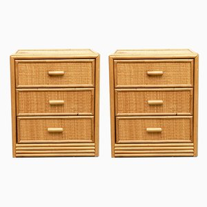 Spanish Bamboo and Rattan Nightstands, 1960s, Set of 2