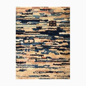 Tibetanischer Yuran Teppich in Blau & Weiß, 1960er