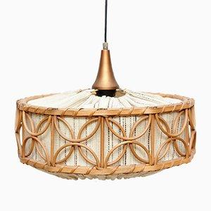 Französische Deckenlampe aus Rattan, 1960er