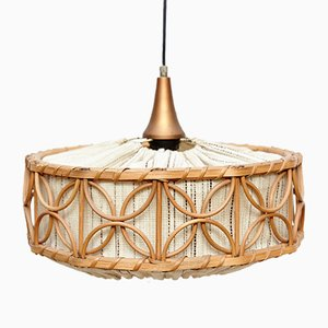 French Rattan Ceiling Lamp, 1960s