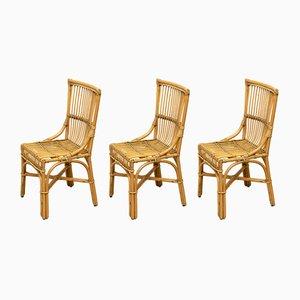 Chaises de Salle à Manger en Bambou et Rotin, Espagne, années 60, Set de 3