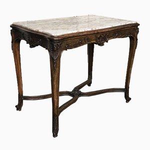 Antiker Konsolentisch aus Nussholz mit Deckplatte aus Marmor