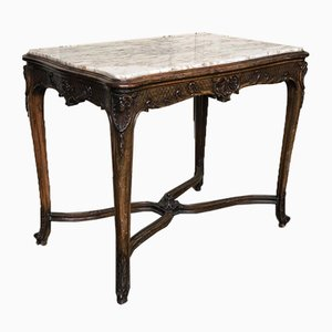 Antique Walnut and Marble Console Table