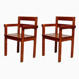 Dutch Wooden Armchairs, 1950s, Set of 2