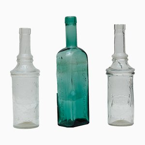 Glass Apothecary Bottles Set, 1920s, Set of 3