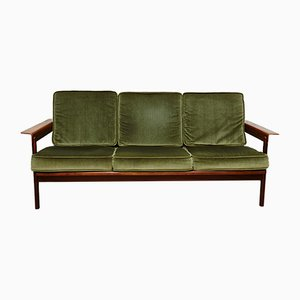 Teak and Green Upholstery Sofa and Easy Chairs from AG Barcelona, 1960s, Set of 3
