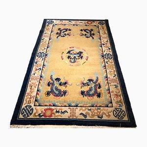 Chinesischer Teppich mit Drachen-Motiven in Gelb & Blau, 1950er