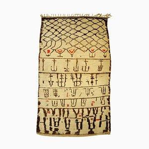 Moroccan Beige Brown Woolen Berber Rug, 1920s