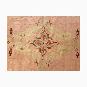 Antique Turkish Pink Woolen Ushak Rug, 1900s