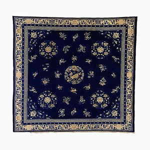 19th Century Chinese Blue and White Woolen Rug, 1870s