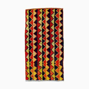 Turkish Red Black and Yellow Woolen Tulu Rug, 1970s
