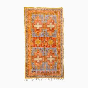 Moroccan Orange and Blue Woolen Berber Rug, 1960s