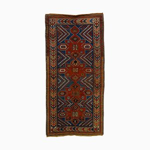 Kazakh Blue and Red Woolen Rug, 1920s