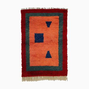 Turkish Pink, Red, and Green Woolen Tulu Rug, 1970s