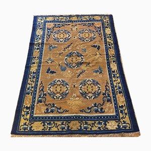 Ockerfarbener chinesischer Teppich aus Baumwolle & Wolle, 19. Jh.