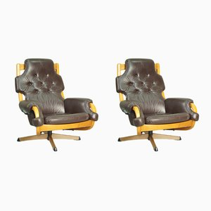 Swedish Leather Lounge Chairs from G-Mobel, 1970s, Set of 2