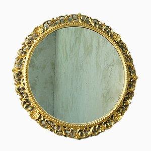 Runder antiker Spiegel mit vergoldetem Holzrahmen, 1890er