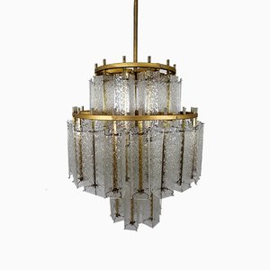 Large Mid-Century Austrian Brass and Ice Glass Chandelier, 1960s