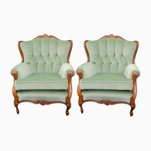 Sessel aus Nussholz, 1940er, 2er Set